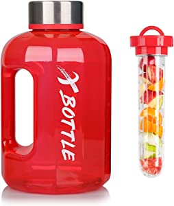 XBOTTLE Half Gallon Water Bottle, 84oz Water Bottle BPA Free Dishwasher Safe Hydration with Motivational Time Mark Leak-Proof 2.5L Water Bottle for Camping Workouts