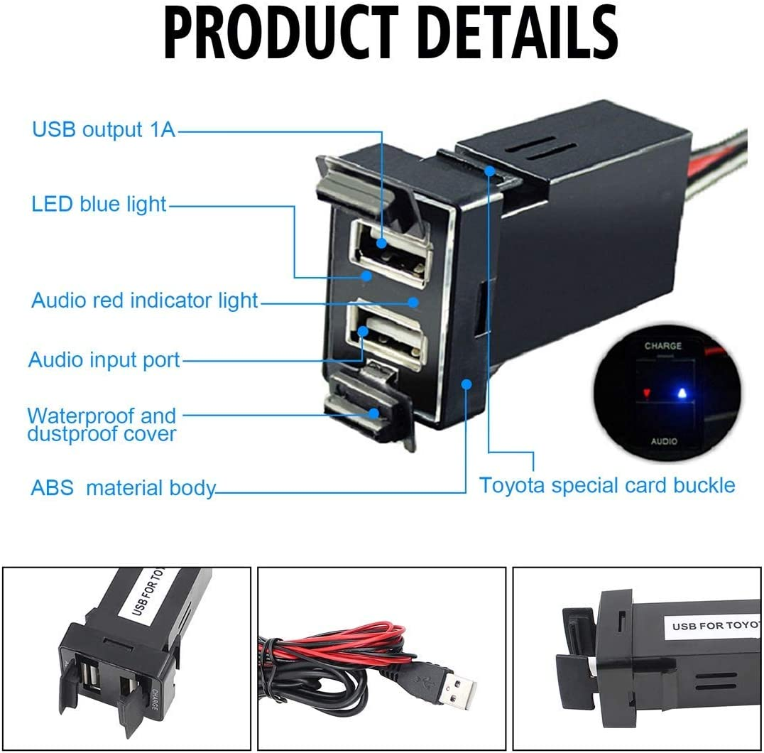 WXQ-XQ Car DC12V 2.1A Dual USB Charger Audio Port Interface for Toyota with Audio USB Durable