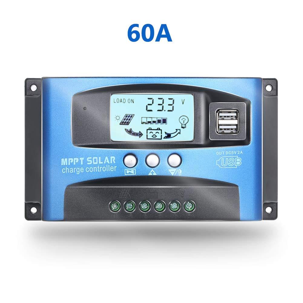 Controlador de carga solar MPPT de 60 A con doble salida USB 5 V 12/24 V panel solar regulador de carga de batería