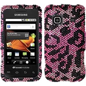 Full Diamond Design Case Cover For Samsung Galaxy Prevail M820 - Pink Cheetah Diamond