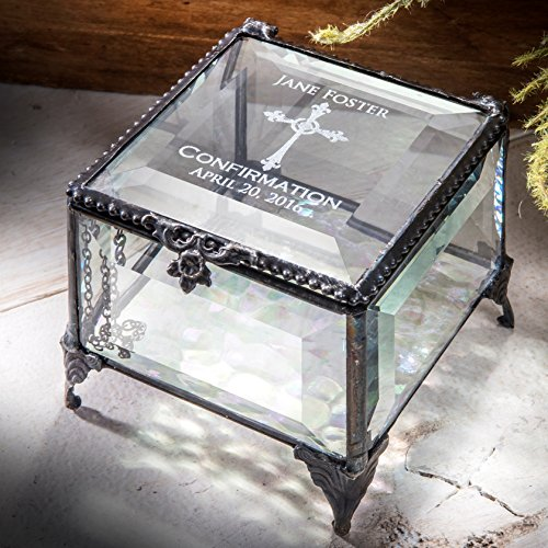 - J Devlin Box 326 EB221 Personalized Confirmation Keepsake Box Engraved Glass Keepsake Gift Christian Religious