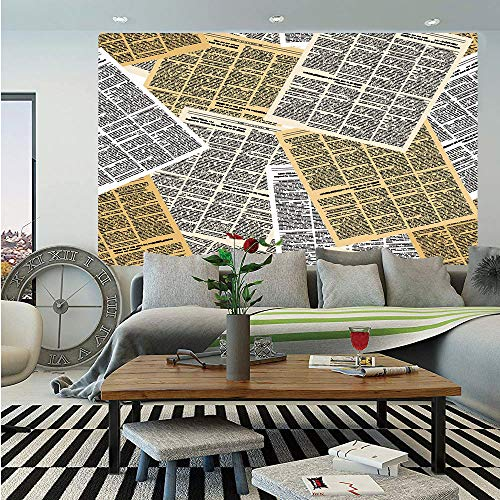 Old Newspaper Decor Removable Wall Mural,Pages of Old Journals Magazines Columns Information Print Decorative,Self-Adhesive Large Wallpaper for Home Decor 66x96 inches,Light Brown White - Journals Decorative Step