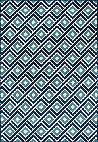 Momeni Rugs BAJA0BAJ-7BLU3B57, Baja Collection Contemporary Indoor & Outdoor Area Rug, Easy to Clean, UV protected & Fade Resistant, 3