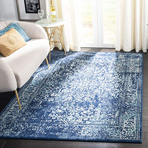- Safavieh Evoke Collection EVK256A Vintage Oriental Navy and Ivory Area Rug (5'1