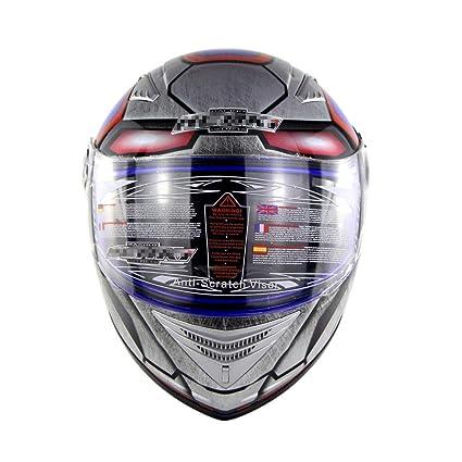 Lsrryd Casco Moto Modular ECE Homologado Integral Scooter para Mujer Hombre Adultos con Doble Visera (