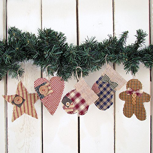 Jubilee Creative Studio Set of 5 Quilted Homespun Fabric & Burlap Primitive Christmas Ornaments by