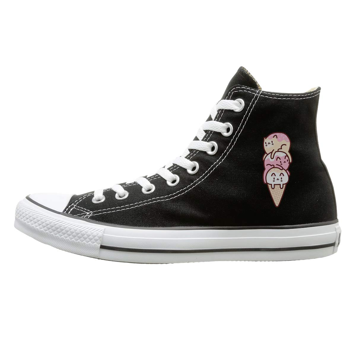 Aiguan Ice Cream Cats Canvas Shoes High Top Design Black Sneakers Unisex Style