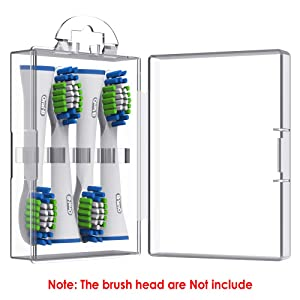 Toothbrush Heads Cover - Enerfort Travel Brush Head Protector Storage Case for Oral B or Philips Electric Toothbrush Heads, 1PC, Transparent