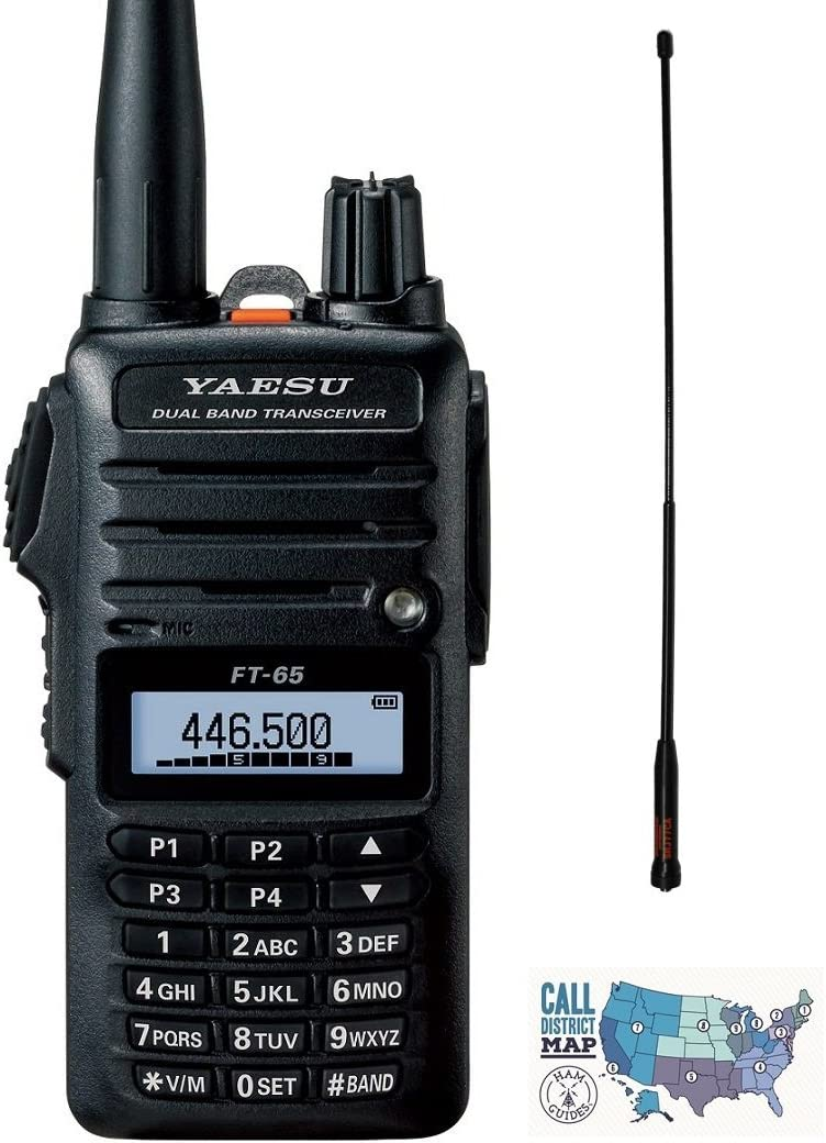 3 Items Diamond High-Gain Antenna and Ham Guides TM Quick Reference Card Radio and Accessory Bundle Includes Yaesu FT-65R 5W VHF//UHF Dualband Handheld Transceiver