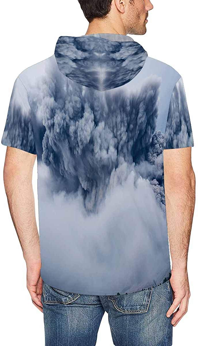 INTERESTPRINT Mens Hoodies Shirts Cloud Casual Short Sleeve Hooded T-Shirt XL