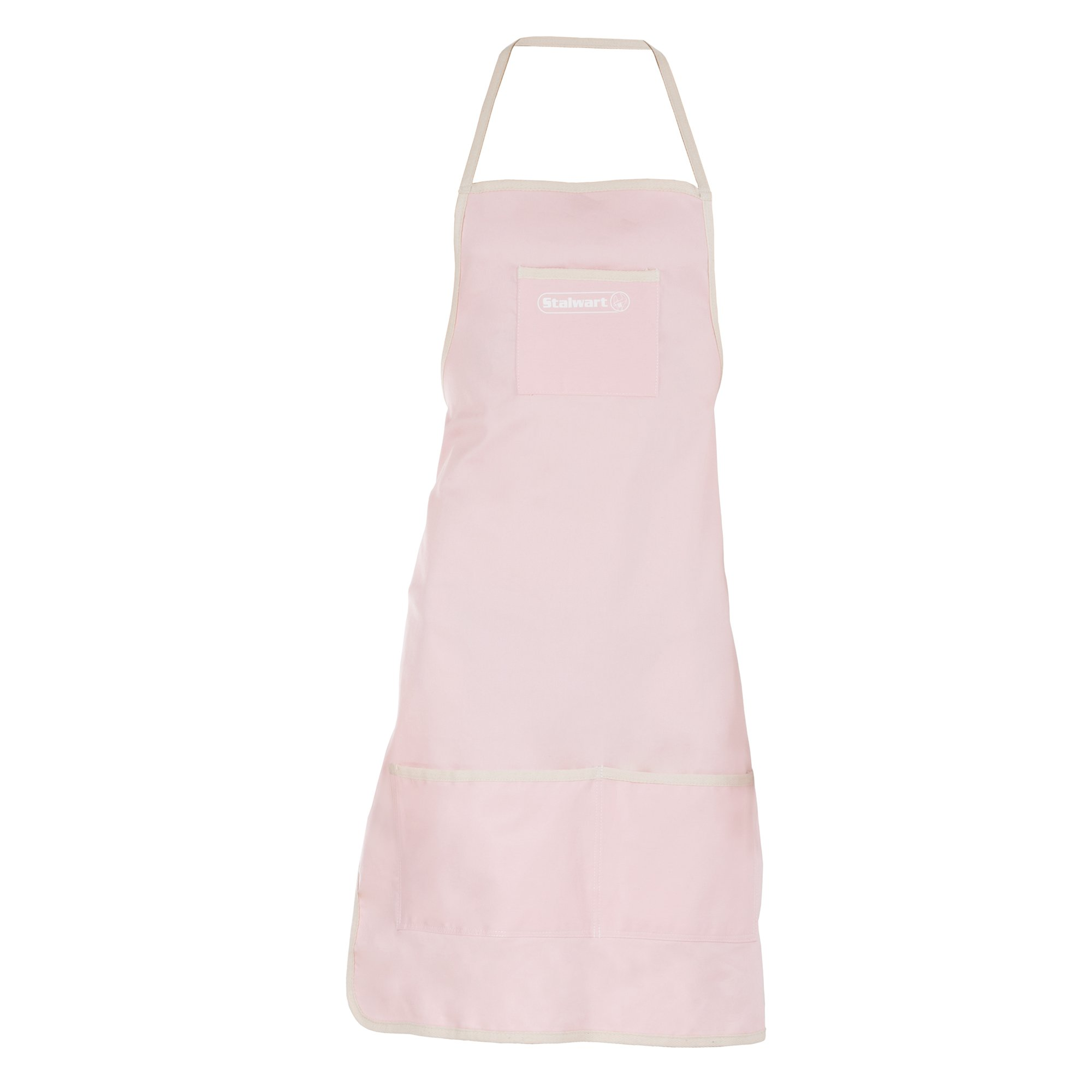 Denim Shop Apron with 3 Pockets for Tools and Supplies- Multi Use Adjustable Utility Bib with Comfortable Cotton Straps by Stalwart (Pink)