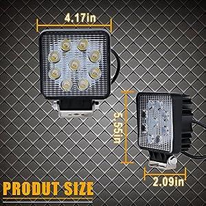 """Led Work Light,TURBOSII 2Pack 4"""" Inch Flood Led Light Bar LED Cube Pods Waterproof Driving Lights Fog Lamps for Offroad Jeep SUV ATV UTV Truck Pickup Daytime Running Light"""