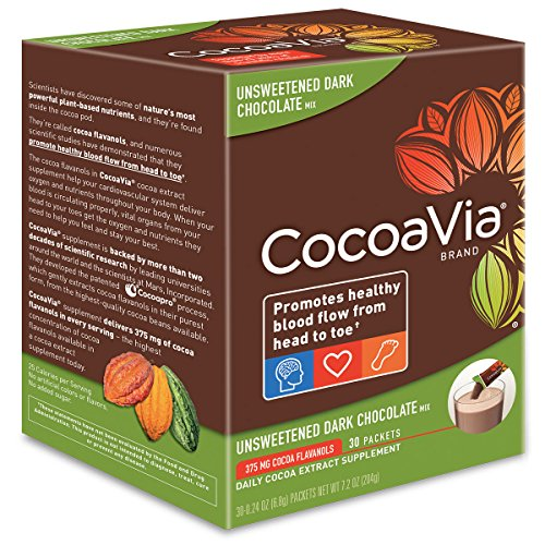 CocoaVia Unsweetened Dark Chocolate, 375 mg, 30 Count