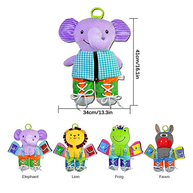 Tablero de habilidades b/ásicas bot/ón encaje y corbata juguetes de habilidades b/ásicas para la vida broche hebilla juguetes infantiles para beb/és Educaci/ón temprana-Cremallera