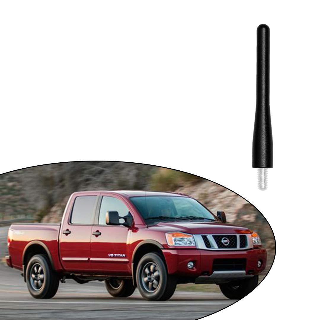 Black 3.6 Aluminum Short Direct Replacement Screw Thread Performance Antenna Mast Whip fits Nissan 1998-2019 Nissan Frontier 2000-2015 Nissan Xterra 2004-2019 Nissan Titan Truck Pickup