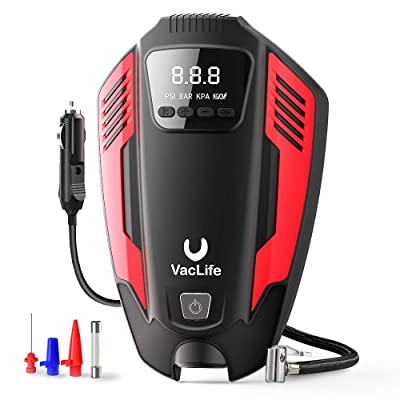 VacLife Air Compressor Tire Inflator, DC 12V Air Pump for Car Tires, Bicycles and Other Inflatables, Auto Portable Air Compressor for Car Tires with LED Light & 11.5 Feet Long Power Cord: Automotive