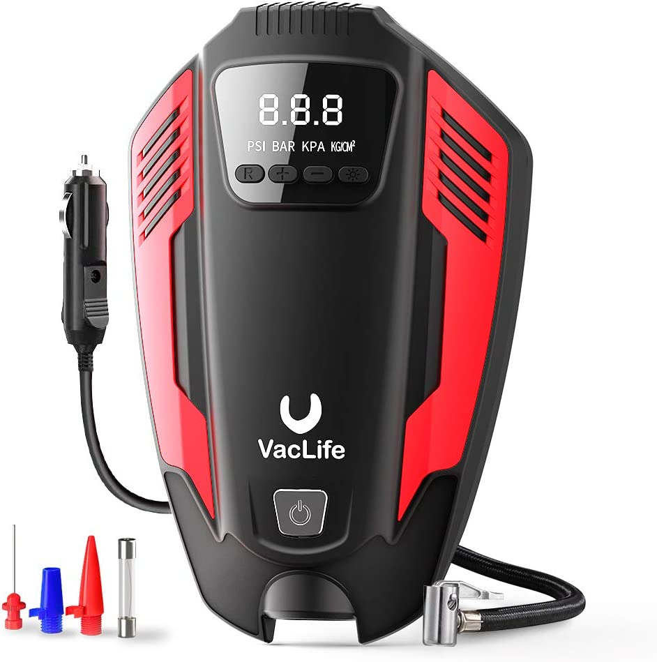 VacLife Air Compressor Tire Inflator, DC 12V Air Pump for Car Tires, Bicycles and Other Inflatables