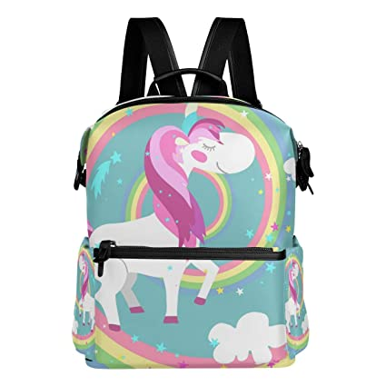 TIZORAX - Mochila Escolar, diseño de Unicornio Sobre arcoíris