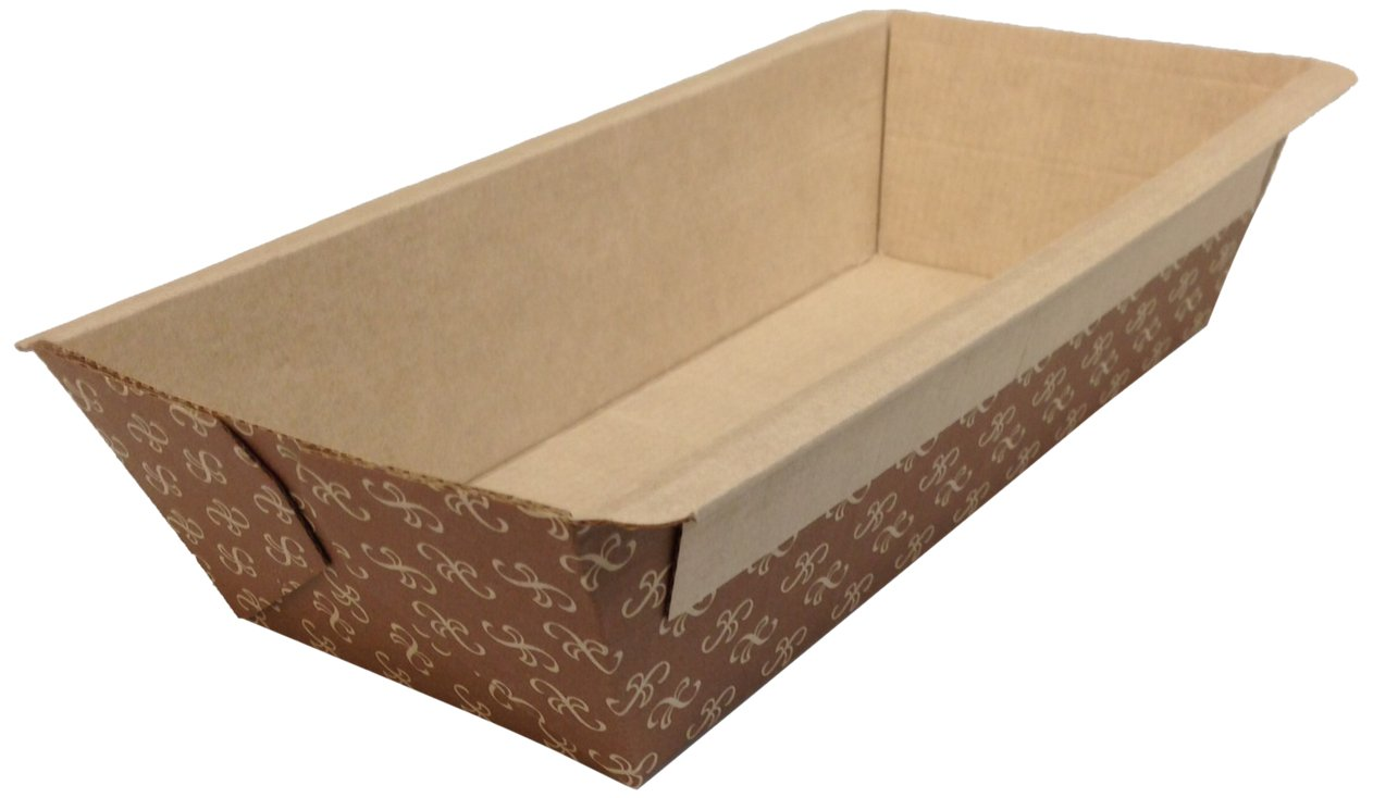 Image of SOLUT! 31906-0370 1 lb. Bakeable Loaf Pan with Artisan Print, 7' Length x 3' Width x 2' Height, Brown (Pack of 370) Bakery Take Out Containers