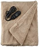 Sunbeam Heated Throw Blanket | LoftTec, 3 Heat Settings, Sand