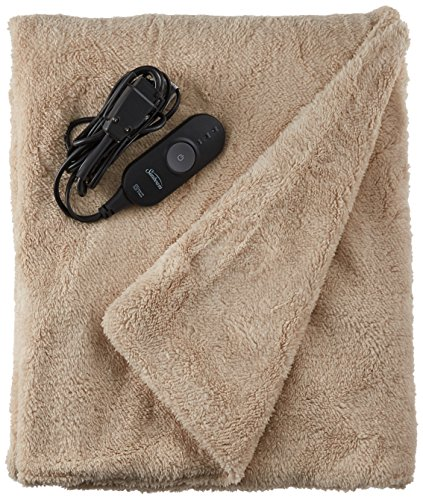 Sunbeam Heated Throw Blanket | LoftTec, 3 Heat Settings, Sand (Best Electric Throw Reviews)
