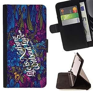 BullDog Case - FOR/Samsung Galaxy S4 IV I9500 / - / nothing simple love colorful quote romance /- Monedero de cuero de la PU Llevar cubierta de la caja con el ID Credit Card Slots Flip funda de cuer