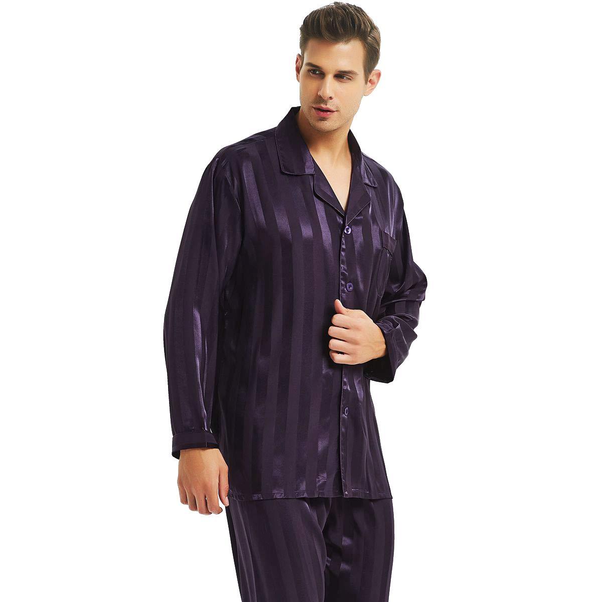 Lonxu Mens Silk Satin Pajamas Set Purple L