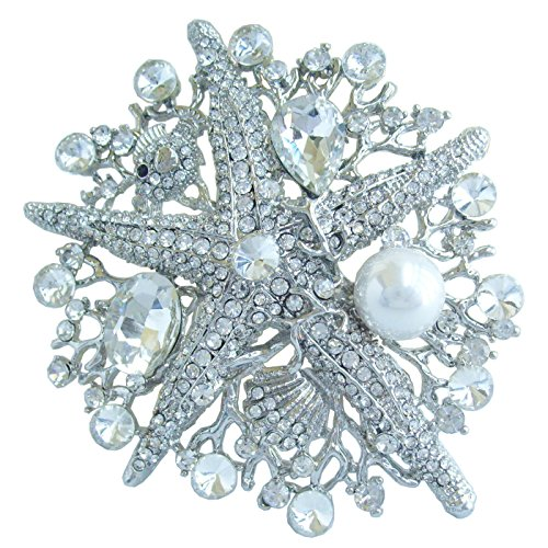 "Sindary 3.15"" Starfish Brooch Pin Austrian Crystal Pendant BZ6412 (Silver-Tone Clear)"