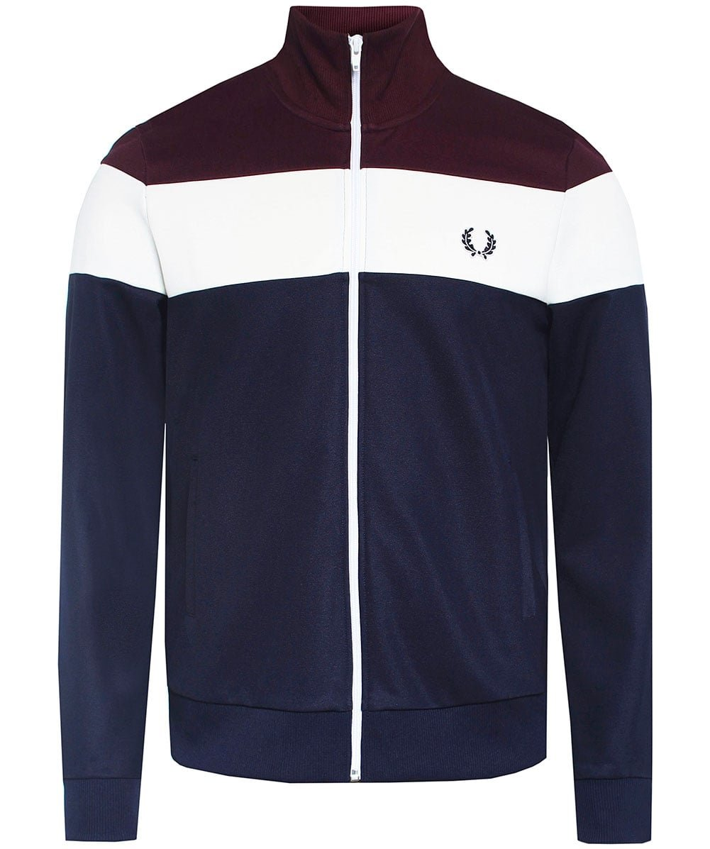 Fred Perry Men's Colour Block Track Jacket Carbon Blue Small