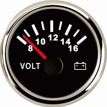 "8-16V Voltmeter Volt Meter for Boat Marine RV 52mm 2/"" Black /& Black"