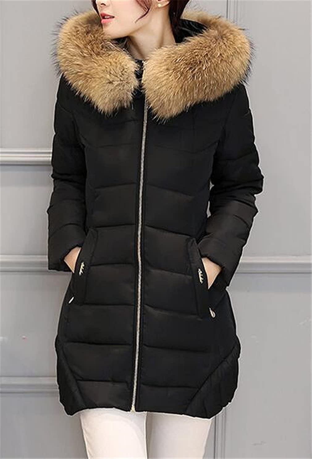 Luodemiss Womens Fashion Solid Outerwear Faux Fur Hoodies Down Coat Jacket