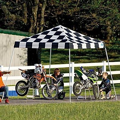 10x10 Slant Leg Pop-up Canopy, Checkered Flag Cover, Black Roller Bag