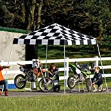 10x10 Slant Leg Pop-up Canopy, Checkered Flag Cover, Black Roller Bag