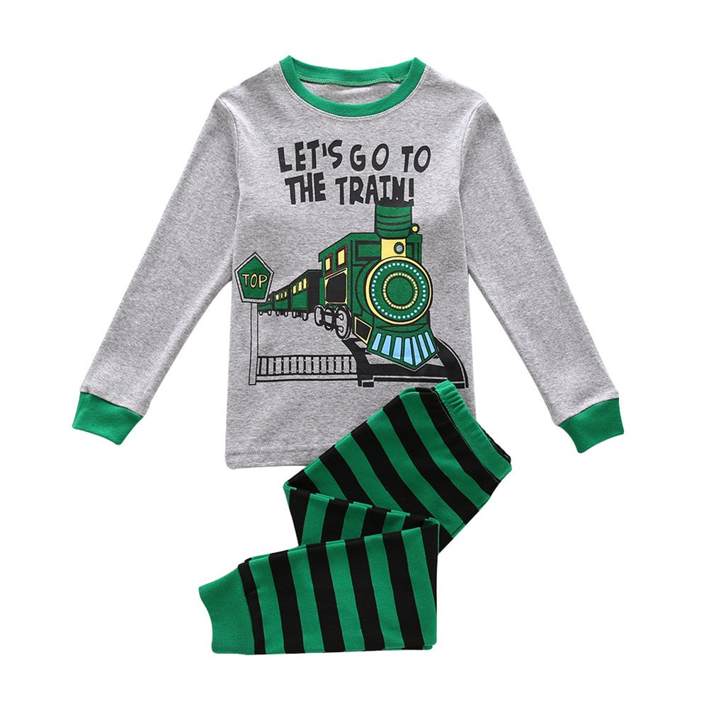 Kidlove Kids Baby Boys Long Sleeve Trousers Round Neck Set Lovely Train Pattern Printing Clothing 2 Pcs Outfits Clothes
