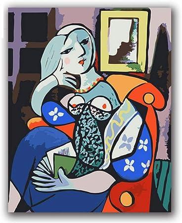 Yuuwo Picasso Femme Tenant Livre Peinture Abstraite Peinture Par Numeros Avec Des Kits Sur Toile Dessin A Colorier Pour Decor De Chambre Sans Cadre 40x50cm Amazon Fr Cuisine Maison