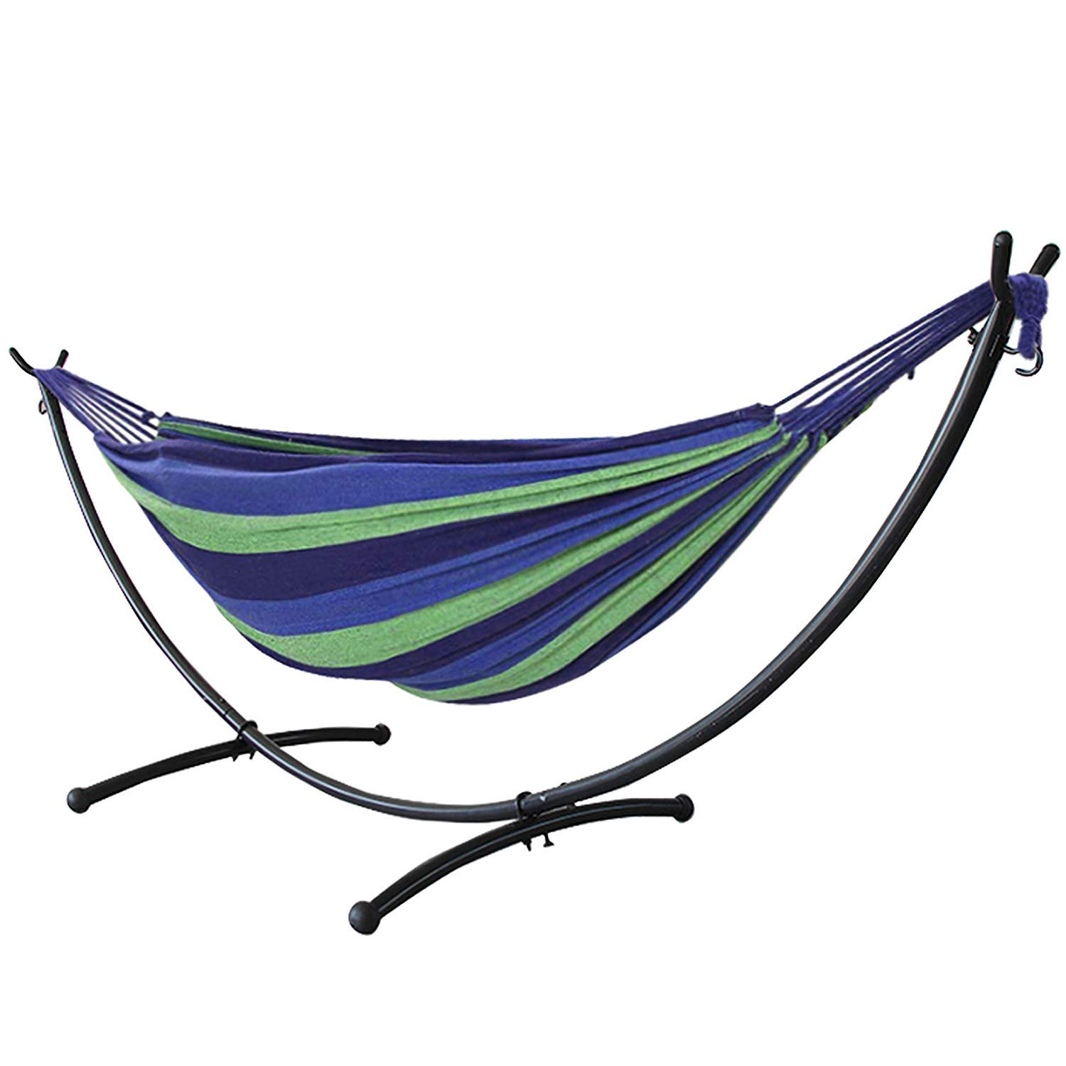 Blissun Hammock Stand Outdoor Patio Heavy Duty Coated Steel Tube Frame with Hooks (Black)