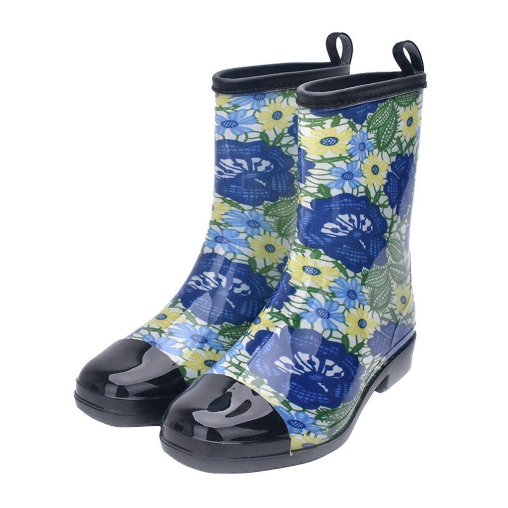 Kontai Women Half Calf Rubber Rainboots Floral Printed Waterproof Rubber For Garden Women Rain Footwear lts028