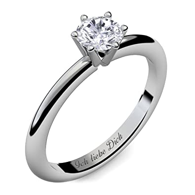 Verlobungsring Damen Silber 925 Damen Ring von AMOONIC mit