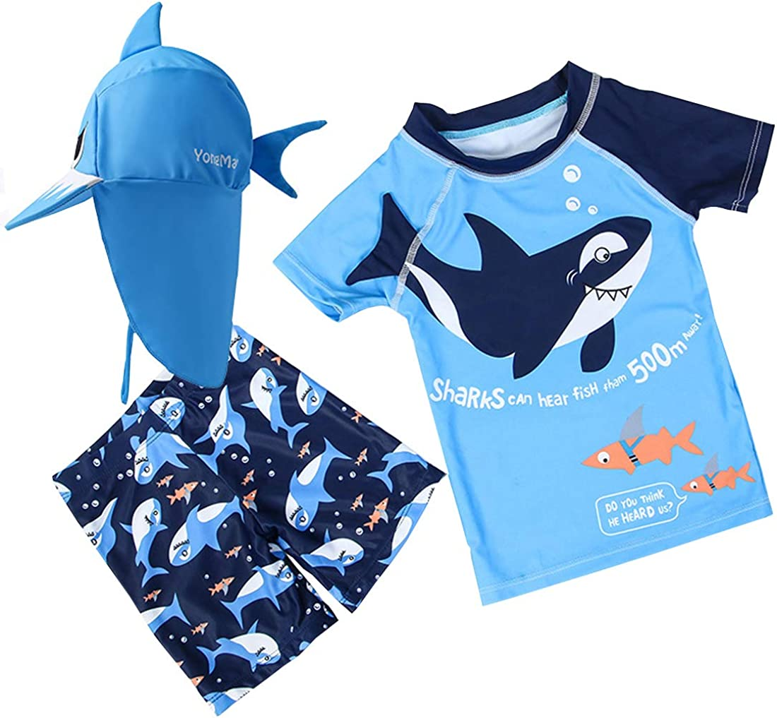 Baby Toddler Boys Two Pieces Swimsuit Set Shark Bathing Suit Rash Guards Swimwear with Hat UPF 50+