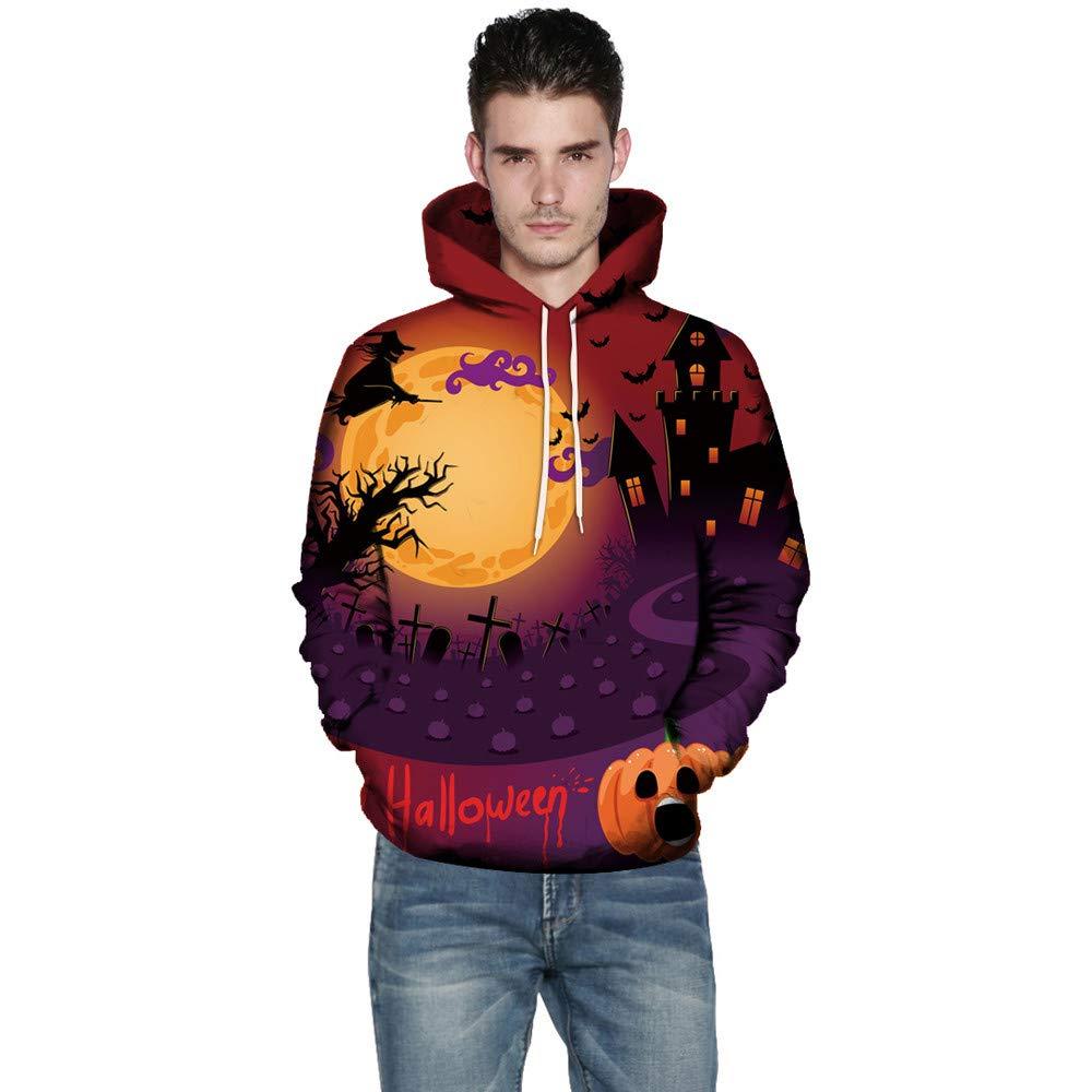 Makeupstore Men Women Mode 3D Print Autumn Winter Casual Long Sleeve Halloween Couples Hoodies Top Blouse Shirts Outwear