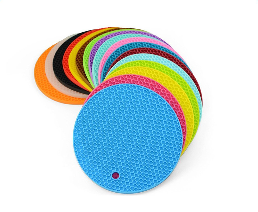 Daorier 1/× Dessous de Plat Maniques en Silicone//Dessous de Plat//Manique Rond en Silicone// R/ésistant /à la Chaleur Jusqu//Couvercle /à Ouverture// Prot/ège Pot//Manique //Tapis Rond en Silicone// R/ésistants /à la Cha
