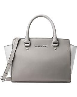 MICHAEL Michael Kors Medium Kellen Leather Satchel Bag (Dark Taupe ... 9e4ac9e60fa49