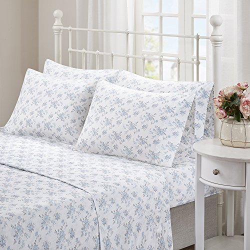 PH Beautiful Elegant Gorgeous Stylish Classic Full Size 6 Piece Blue Color Floral Pattern Sheet Set Attractive Colorful Casual Design