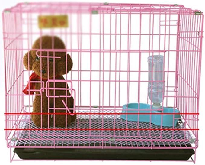 Jaula para Perros con 2 Puertas, Jaula De Transporte para Perros, Hecha De Alambre Extra Fuerte, Estable Y Plegable, Casa para Perros En Negrita con Inodoro (Color : Pink, Size : 70 * 50 * 60cm)