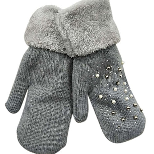 taole Pearl Gloves, Winter Women Glove Knitted Mittens Plush Thick Warm Gloves & Mittens (D) (Pearl Plush Fleece Glove)