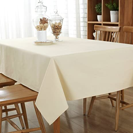 Comfy Home Vintage Rectangular Cotton Linen Dining Tablecloth Washable Table Cover For Kitchen Room Beige