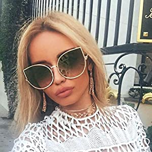 Designer Inspired Cat Eye Oversized Sunglasses Large Metal Frame Women Fashion