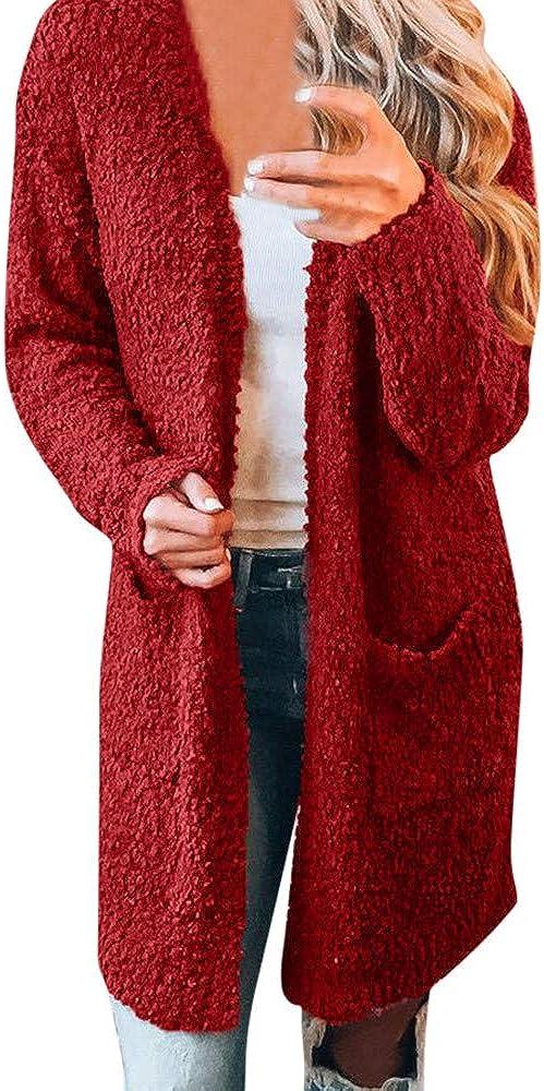 Seaintheson Women Loose Long Winter Warm Wool Pockets Cardigan Coat Solid Color Oversized Outwear Jacket Overcoat Red