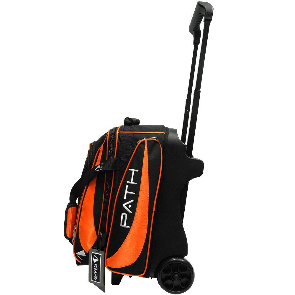 Pyramid Path Premium Deluxe Double Roller Bowling Bag (Black/Orange)
