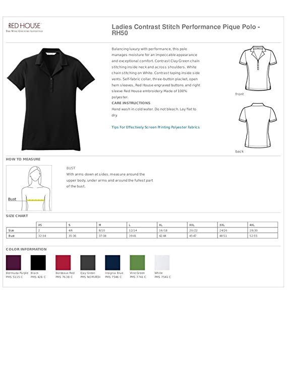 Red House - Ladies Contrast Stitch Performance Pique Polo - RH50 ...